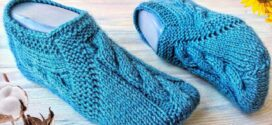 Knit Blue Cable Slippers