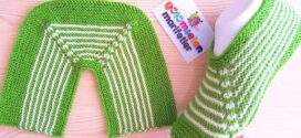 Knit Simple Stripe Slippers for Ladies
