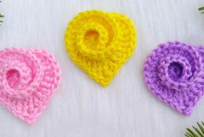 Spiral Rose Heart Crochet Pattern For Beginners