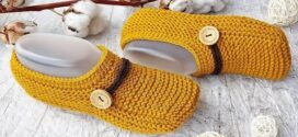 Knit Simple Button Slippers