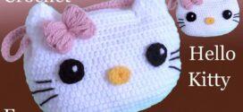 CROCHET LOVELY HELLO KITTY PURSE BAG